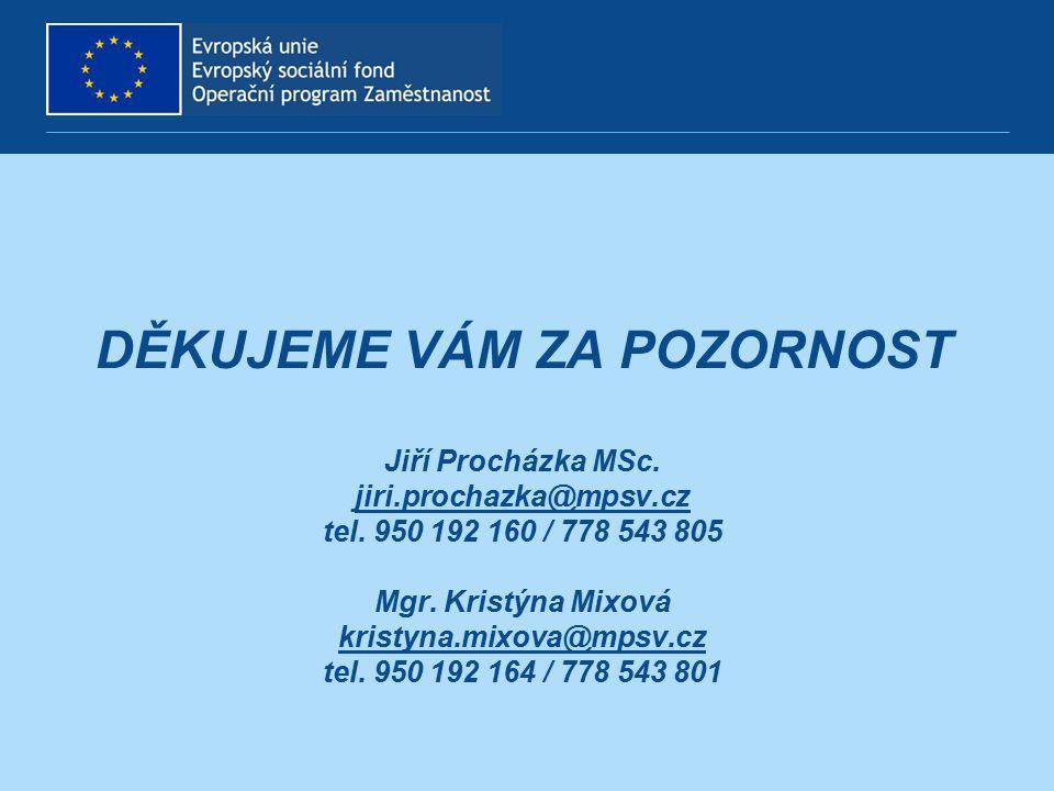 DĚKUJEME VÁM ZA POZORNOST Jiří Procházka MSc. jiri.prochazka@mpsv.cz tel. 950 192 160 / 778 543 805 Mgr. Kristýna Mixová kristyna.mixova@mpsv.cz tel.