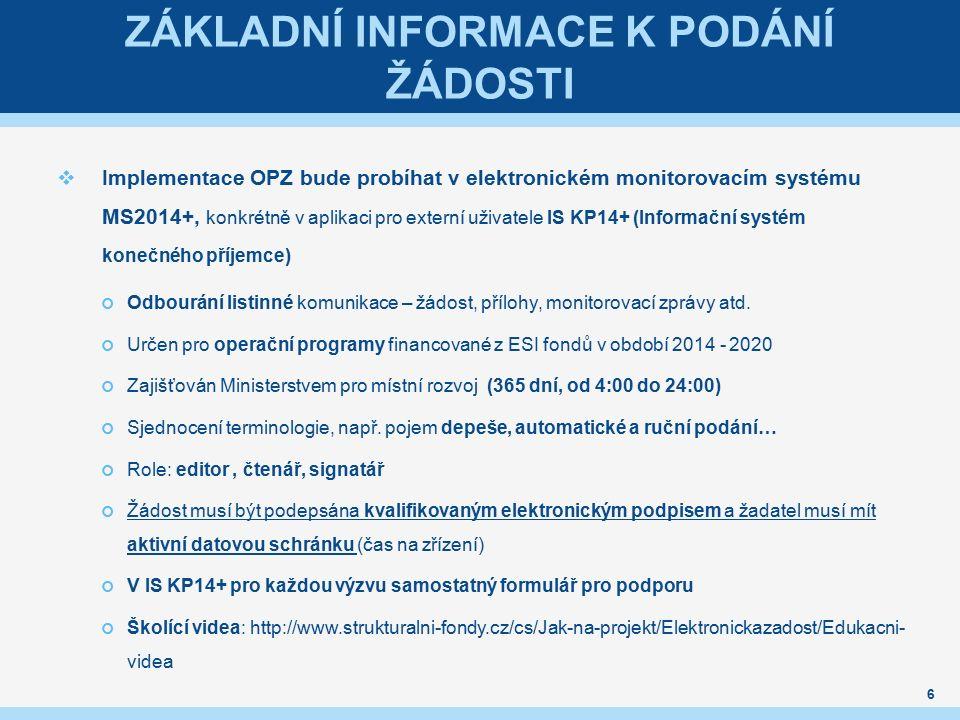 ZÁKLADNÍ INFORMACE K PODÁNÍ ŽÁDOSTI  Implementace OPZ bude probíhat v elektronickém monitorovacím systému MS2014+, konkrétně v aplikaci pro externí u