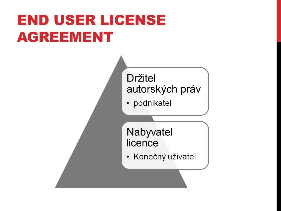Držitel autorských práv podnikatel Nabyvatel licence Konečný uživatel