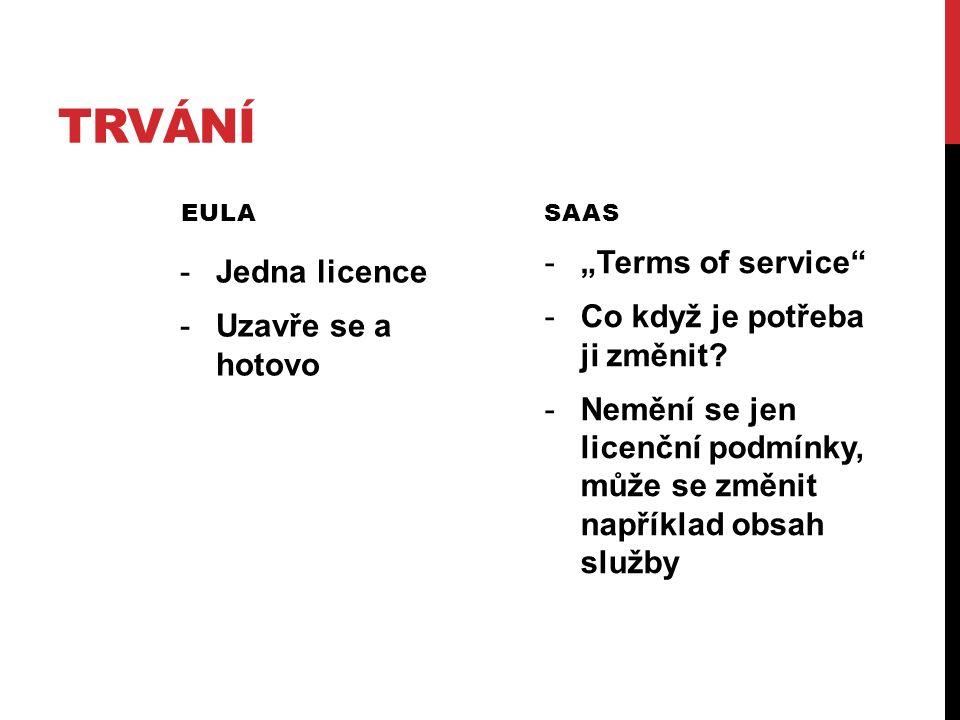 """TRVÁNÍ EULA -Jedna licence -Uzavře se a hotovo SAAS -""""Terms of service -Co když je potřeba ji změnit."""