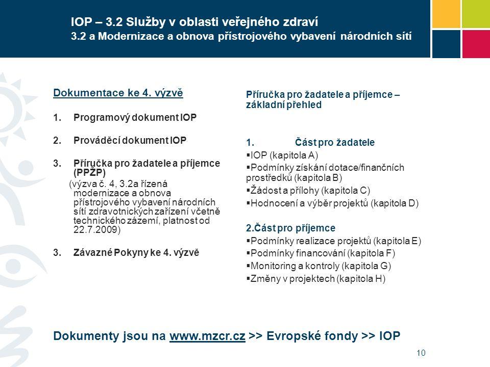 10 IOP – 3.2 Služby v oblasti veřejného zdraví 3.2 a Modernizace a obnova přístrojového vybavení národních sítí Dokumentace ke 4. výzvě  Programový