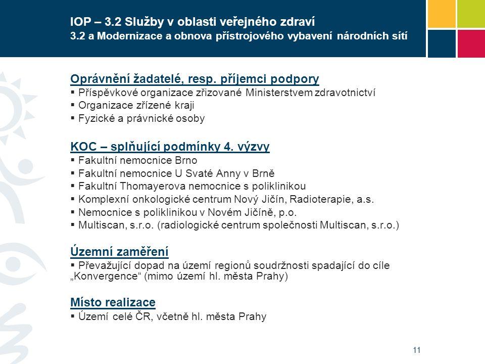 11 IOP – 3.2 Služby v oblasti veřejného zdraví 3.2 a Modernizace a obnova přístrojového vybavení národních sítí Oprávnění žadatelé, resp. příjemci pod