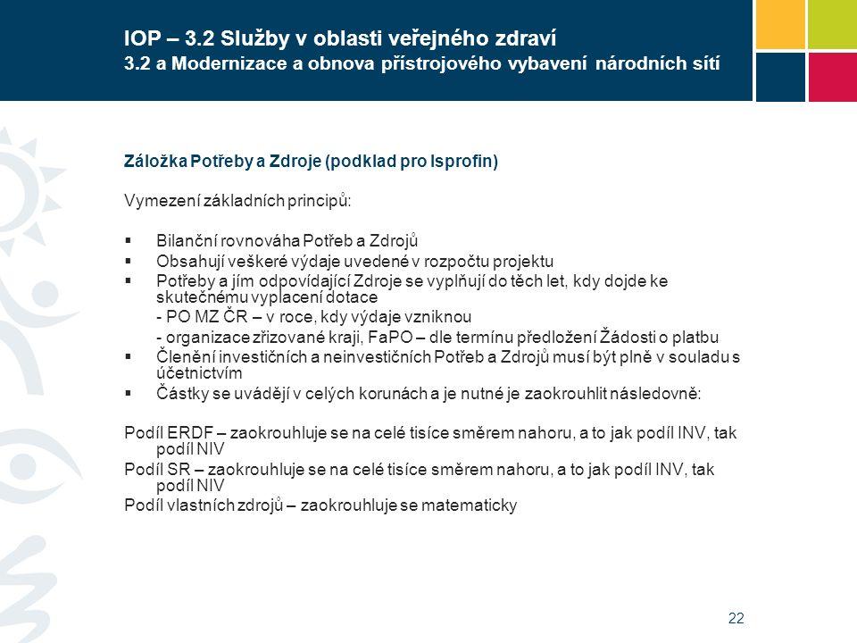 22 IOP – 3.2 Služby v oblasti veřejného zdraví 3.2 a Modernizace a obnova přístrojového vybavení národních sítí Záložka Potřeby a Zdroje (podklad pro