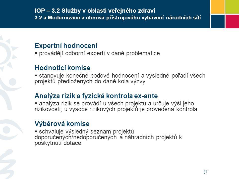 37 IOP – 3.2 Služby v oblasti veřejného zdraví 3.2 a Modernizace a obnova přístrojového vybavení národních sítí Expertní hodnocení  provádějí odborní experti v dané problematice Hodnotící komise  stanovuje konečné bodové hodnocení a výsledné pořadí všech projektů předložených do dané kola výzvy Analýza rizik a fyzická kontrola ex-ante  analýza rizik se provádí u všech projektů a určuje výši jeho rizikovosti, u vysoce rizikových projektů je provedena kontrola Výběrová komise  schvaluje výsledný seznam projektů doporučených/nedoporučených a náhradních projektů k poskytnutí dotace