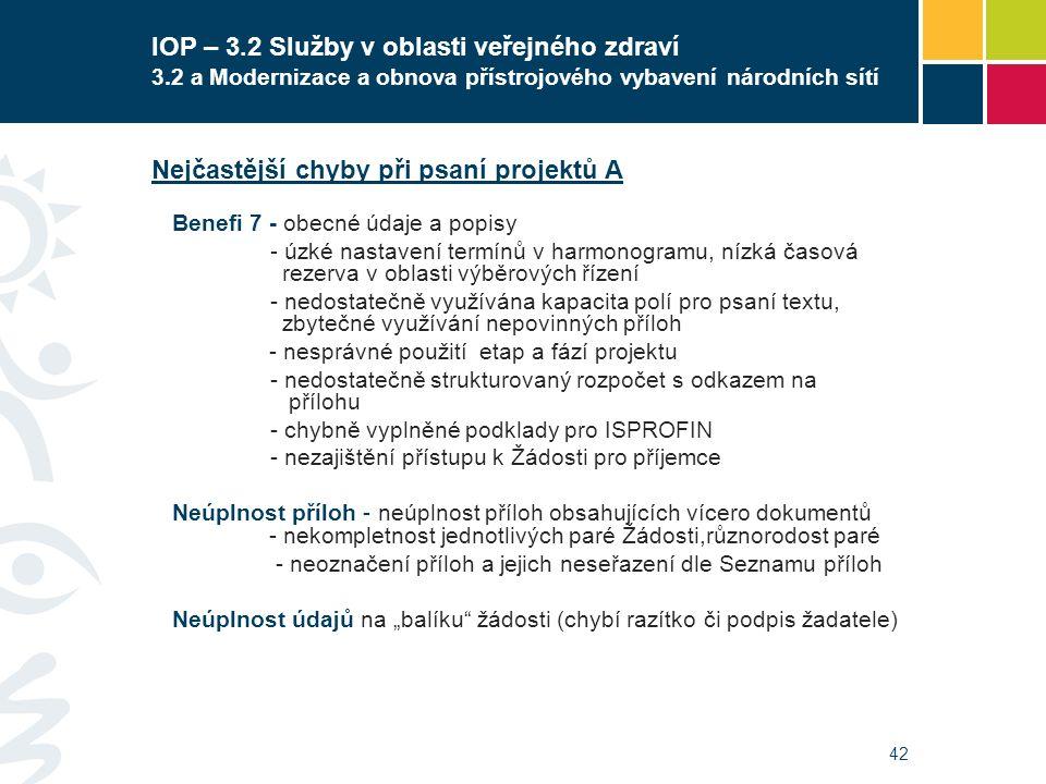 42 IOP – 3.2 Služby v oblasti veřejného zdraví 3.2 a Modernizace a obnova přístrojového vybavení národních sítí Nejčastější chyby při psaní projektů A