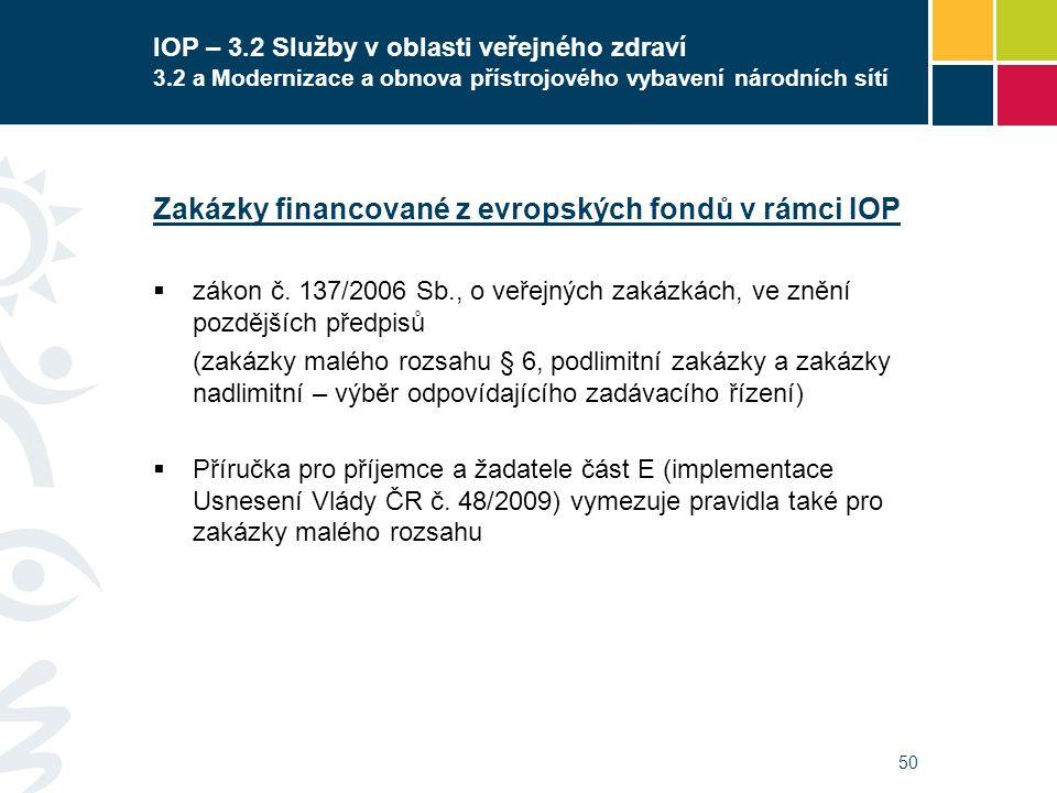 50 IOP – 3.2 Služby v oblasti veřejného zdraví 3.2 a Modernizace a obnova přístrojového vybavení národních sítí Zakázky financované z evropských fondů v rámci IOP  zákon č.
