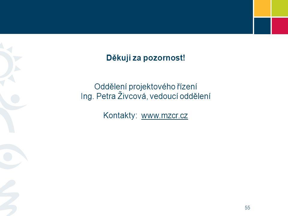 55 Děkuji za pozornost! Oddělení projektového řízení Ing. Petra Živcová, vedoucí oddělení Kontakty: www.mzcr.czwww.mzcr.cz