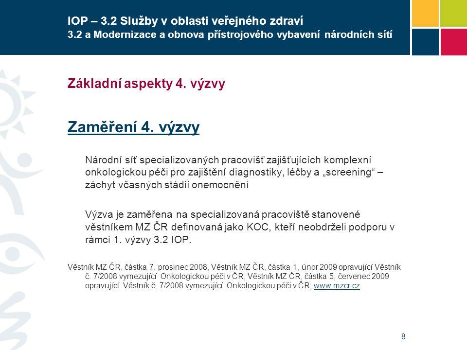 8 IOP – 3.2 Služby v oblasti veřejného zdraví 3.2 a Modernizace a obnova přístrojového vybavení národních sítí Základní aspekty 4. výzvy Zaměření 4. v