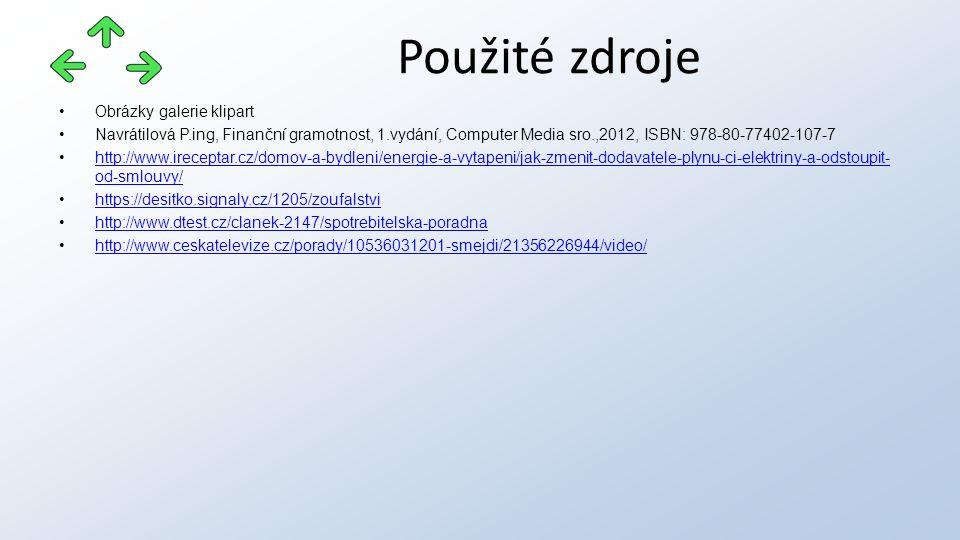 Obrázky galerie klipart Navrátilová P.ing, Finanční gramotnost, 1.vydání, Computer Media sro.,2012, ISBN: 978-80-77402-107-7 http://www.ireceptar.cz/domov-a-bydleni/energie-a-vytapeni/jak-zmenit-dodavatele-plynu-ci-elektriny-a-odstoupit- od-smlouvy/http://www.ireceptar.cz/domov-a-bydleni/energie-a-vytapeni/jak-zmenit-dodavatele-plynu-ci-elektriny-a-odstoupit- od-smlouvy/ https://desitko.signaly.cz/1205/zoufalstvi http://www.dtest.cz/clanek-2147/spotrebitelska-poradna http://www.ceskatelevize.cz/porady/10536031201-smejdi/21356226944/video/ Použité zdroje