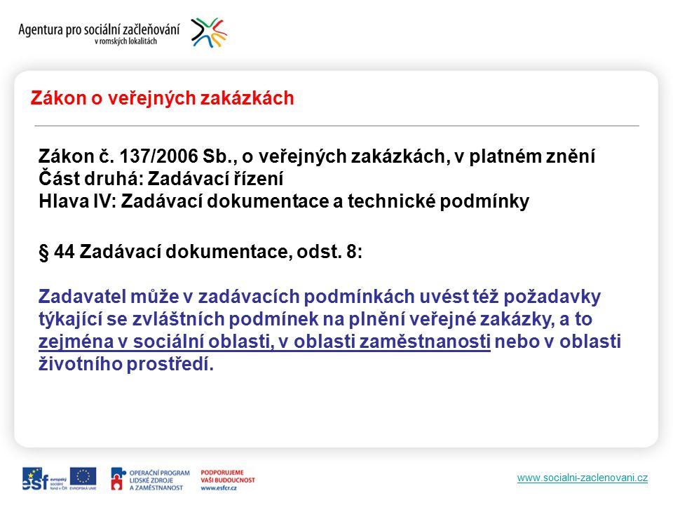 """www.socialni-zaclenovani.cz """"Společensky odpovědné zadávání veřejných zakázek www.nova-ekonomika.cz"""