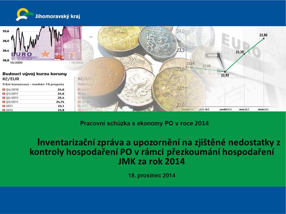 Pracovní schůzka s ekonomy PO v roce 2014 I nventarizační zpráva a upozornění na zjištěné nedostatky z kontroly hospodaření PO v rámci přezkoumání hospodaření JMK za rok 2014 18.