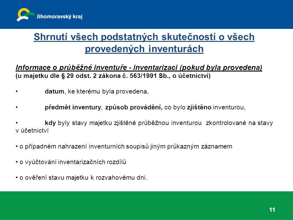 Shrnutí všech podstatných skutečností o všech provedených inventurách Informace o průběžné inventuře - inventarizaci (pokud byla provedena) (u majetku dle § 29 odst.