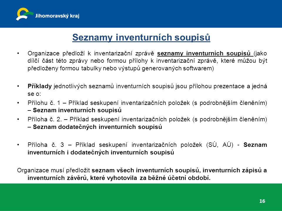 Seznamy inventurních soupisů Organizace předloží k inventarizační zprávě seznamy inventurních soupisů (jako dílčí část této zprávy nebo formou přílohy k inventarizační zprávě, které můžou být předloženy formou tabulky nebo výstupů generovaných softwarem) Příklady jednotlivých seznamů inventurních soupisů jsou přílohou prezentace a jedná se o: Přílohu č.