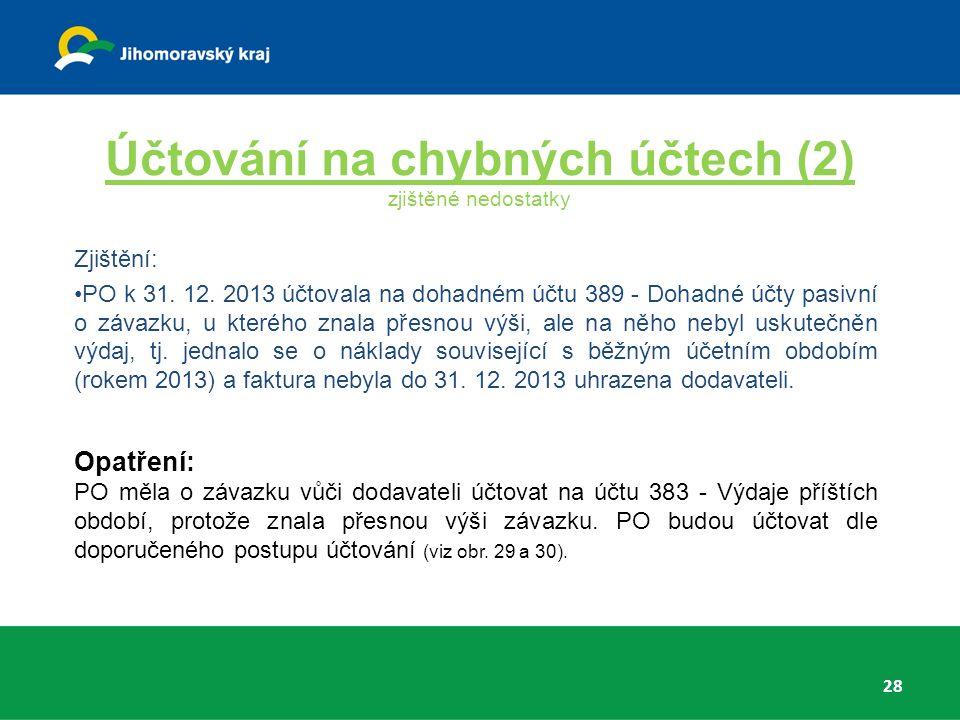 Účtování na chybných účtech (2) zjištěné nedostatky Zjištění: PO k 31.