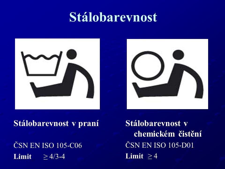 Stálobarevnost Stálobarevnost na světle ČSN EN ISO 105-B02 Limit ≥ 4 Stálobarevnost v potu ČSN EN ISO 105-E04 Limit ≥ 4/3-4