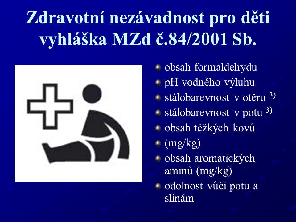 Zdravotní nezávadnost pro děti vyhláška MZd č.84/2001 Sb. obsah formaldehydu pH vodného výluhu stálobarevnost v otěru 3) stálobarevnost v potu 3) obsa