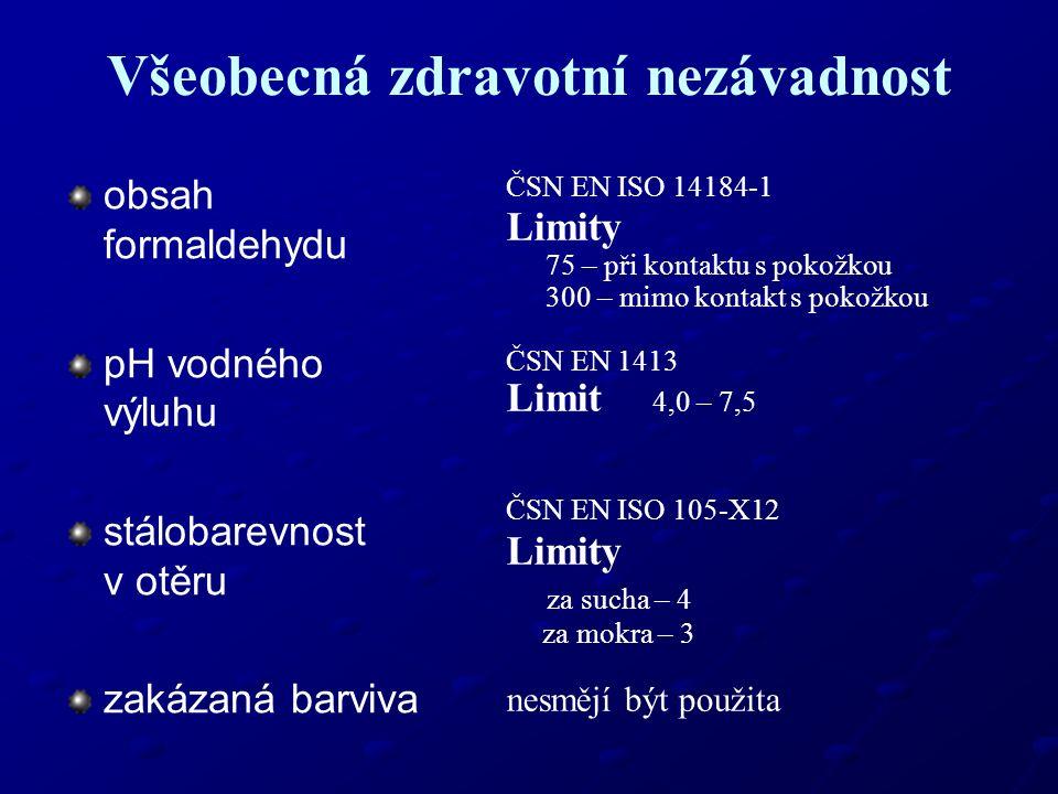 Všeobecná zdravotní nezávadnost obsah formaldehydu pH vodného výluhu stálobarevnost v otěru zakázaná barviva ČSN EN ISO 14184-1 Limity 75 – při kontak