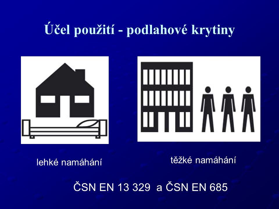Účel použití - podlahové krytiny lehké namáhání těžké namáhání ČSN EN 13 329 a ČSN EN 685