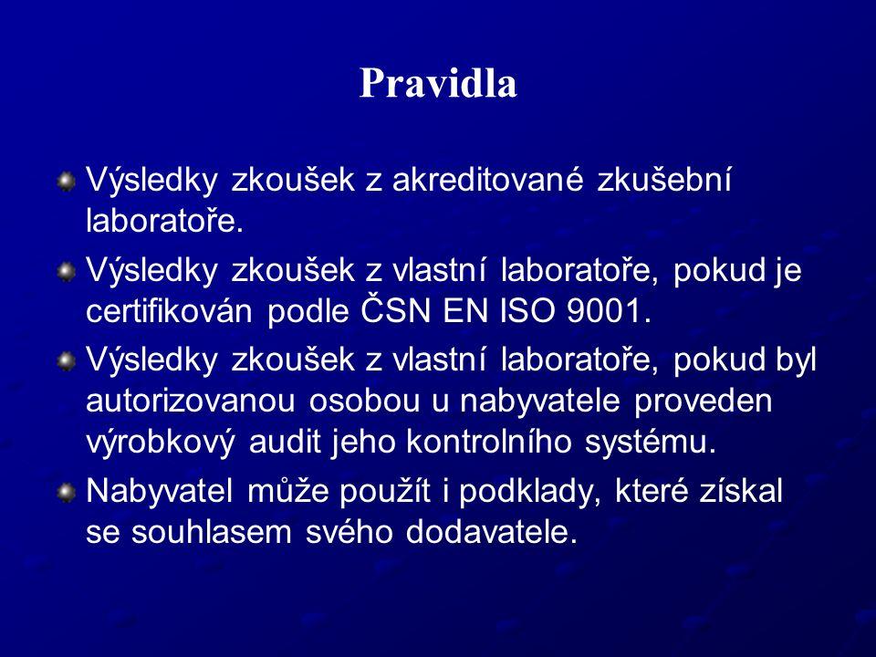 Pravidla Výsledky zkoušek z akreditované zkušební laboratoře. Výsledky zkoušek z vlastní laboratoře, pokud je certifikován podle ČSN EN ISO 9001. Výsl