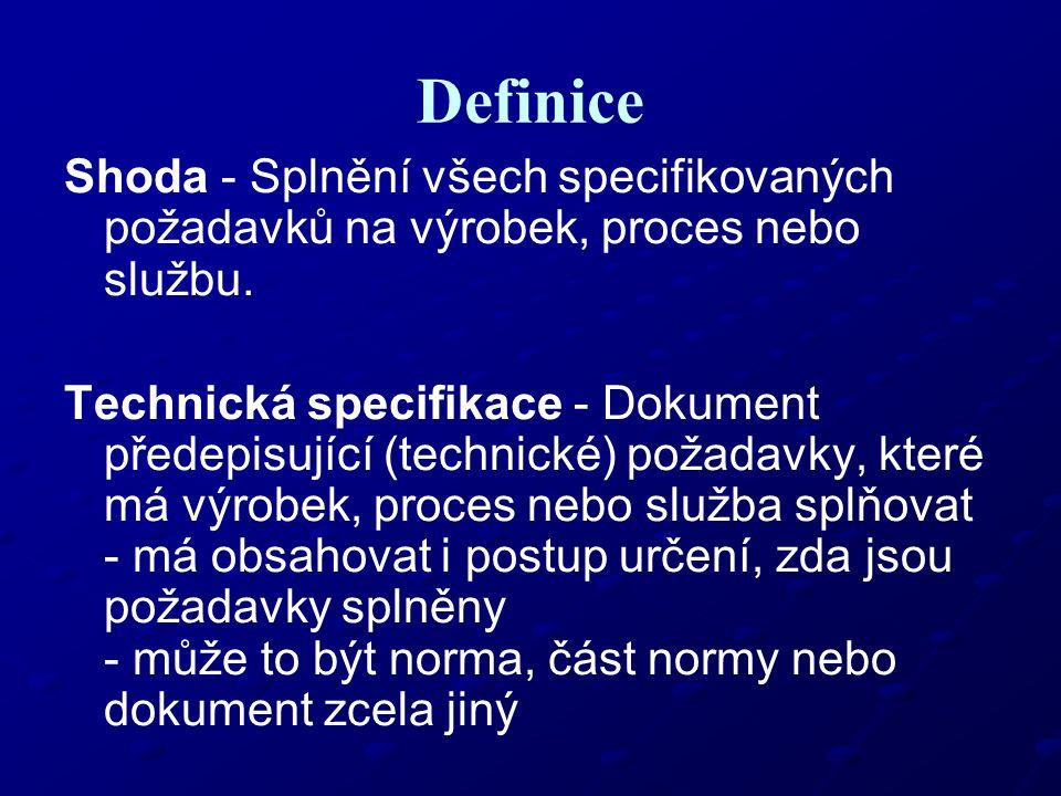 Definice Shoda - Splnění všech specifikovaných požadavků na výrobek, proces nebo službu. Technická specifikace - Dokument předepisující (technické) po