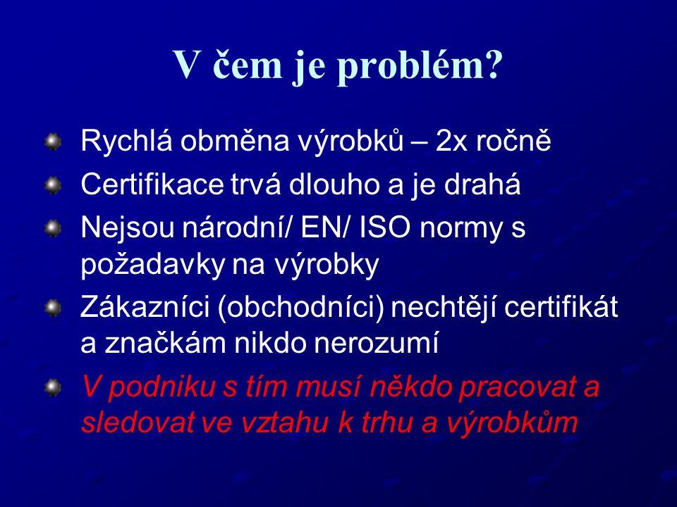 V čem je problém? Rychlá obměna výrobků – 2x ročně Certifikace trvá dlouho a je drahá Nejsou národní/ EN/ ISO normy s požadavky na výrobky Zákazníci (