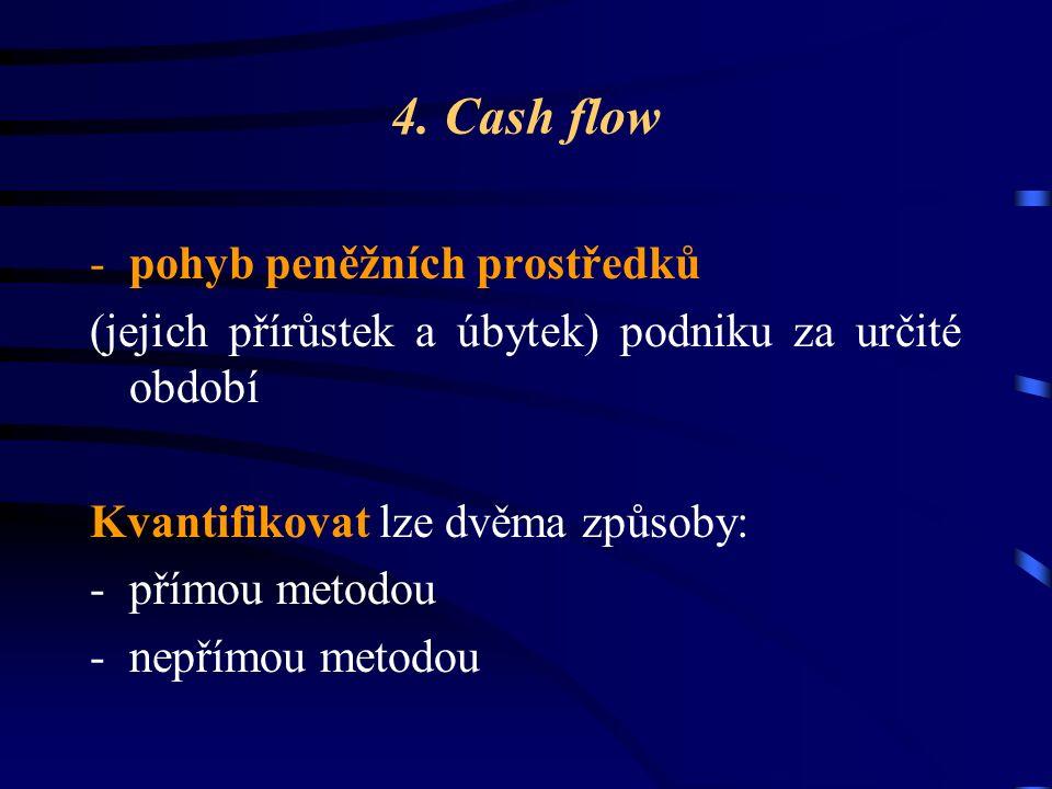4. Cash flow -pohyb peněžních prostředků (jejich přírůstek a úbytek) podniku za určité období Kvantifikovat lze dvěma způsoby: -přímou metodou -nepřím