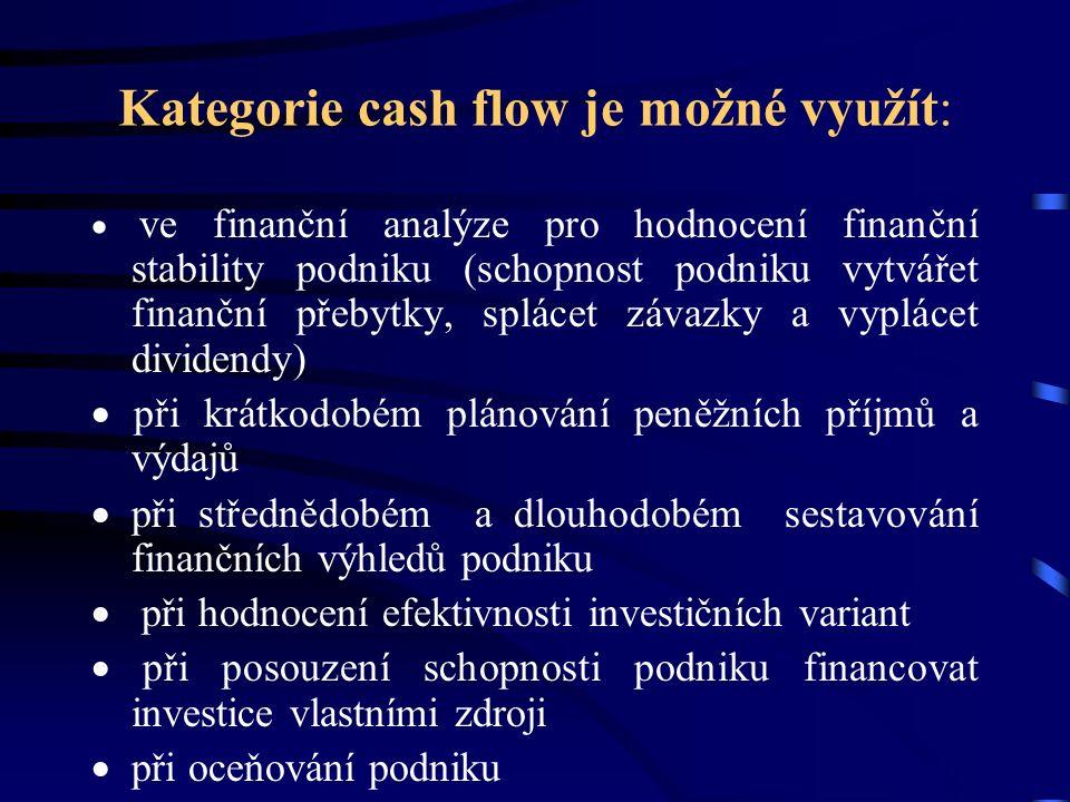 Kategorie cash flow je možné využít:  ve finanční analýze pro hodnocení finanční stability podniku (schopnost podniku vytvářet finanční přebytky, splácet závazky a vyplácet dividendy)  při krátkodobém plánování peněžních příjmů a výdajů  při střednědobém a dlouhodobém sestavování finančních výhledů podniku  při hodnocení efektivnosti investičních variant  při posouzení schopnosti podniku financovat investice vlastními zdroji  při oceňování podniku