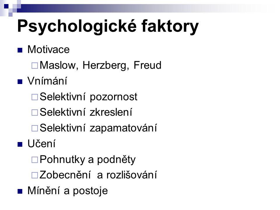 Psychologické faktory Motivace  Maslow, Herzberg, Freud Vnímání  Selektivní pozornost  Selektivní zkreslení  Selektivní zapamatování Učení  Pohnutky a podněty  Zobecnění a rozlišování Mínění a postoje