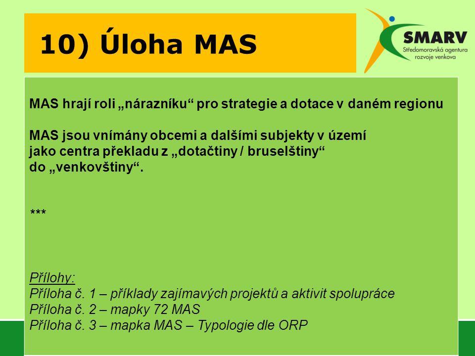 """10) Úloha MAS MAS hrají roli """"nárazníku pro strategie a dotace v daném regionu MAS jsou vnímány obcemi a dalšími subjekty v území jako centra překladu z """"dotačtiny / bruselštiny do """"venkovštiny ."""