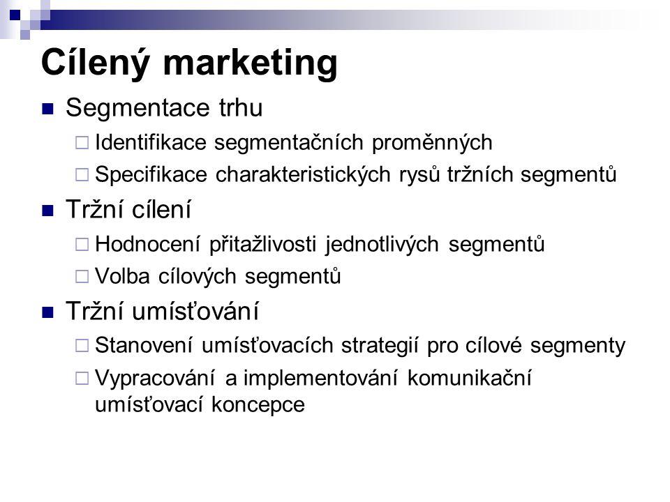Cílený marketing Segmentace trhu  Identifikace segmentačních proměnných  Specifikace charakteristických rysů tržních segmentů Tržní cílení  Hodnocení přitažlivosti jednotlivých segmentů  Volba cílových segmentů Tržní umísťování  Stanovení umísťovacích strategií pro cílové segmenty  Vypracování a implementování komunikační umísťovací koncepce
