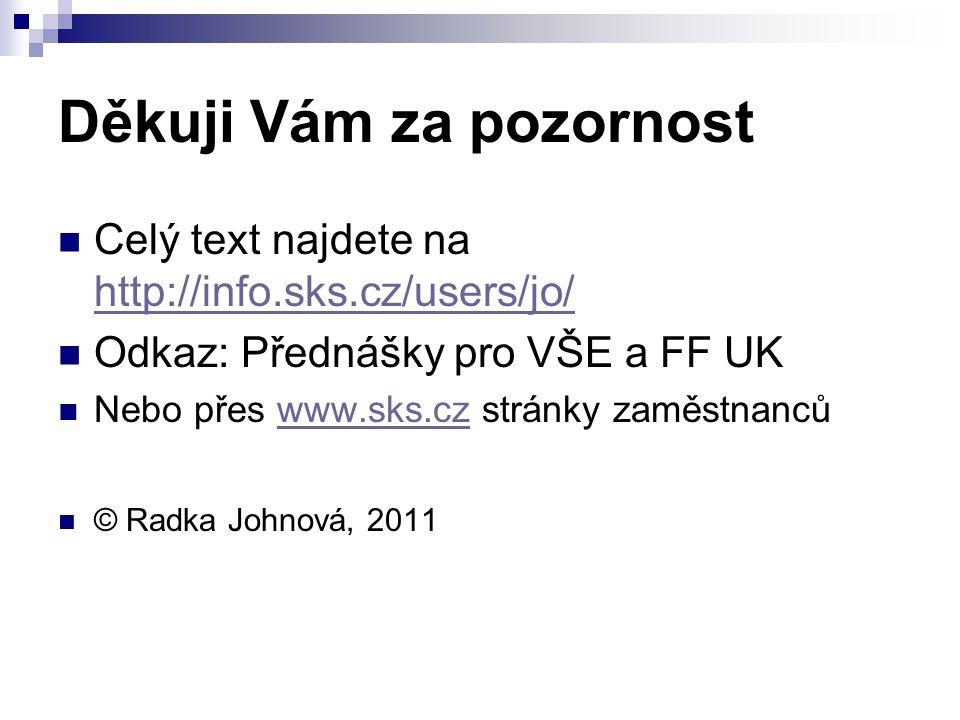 Děkuji Vám za pozornost Celý text najdete na http://info.sks.cz/users/jo/ http://info.sks.cz/users/jo/ Odkaz: Přednášky pro VŠE a FF UK Nebo přes www.sks.cz stránky zaměstnancůwww.sks.cz © Radka Johnová, 2011