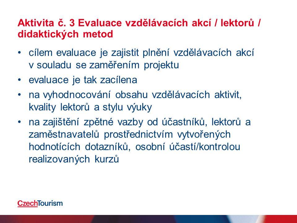 Aktivita č. 3 Evaluace vzdělávacích akcí / lektorů / didaktických metod cílem evaluace je zajistit plnění vzdělávacích akcí v souladu se zaměřením pro