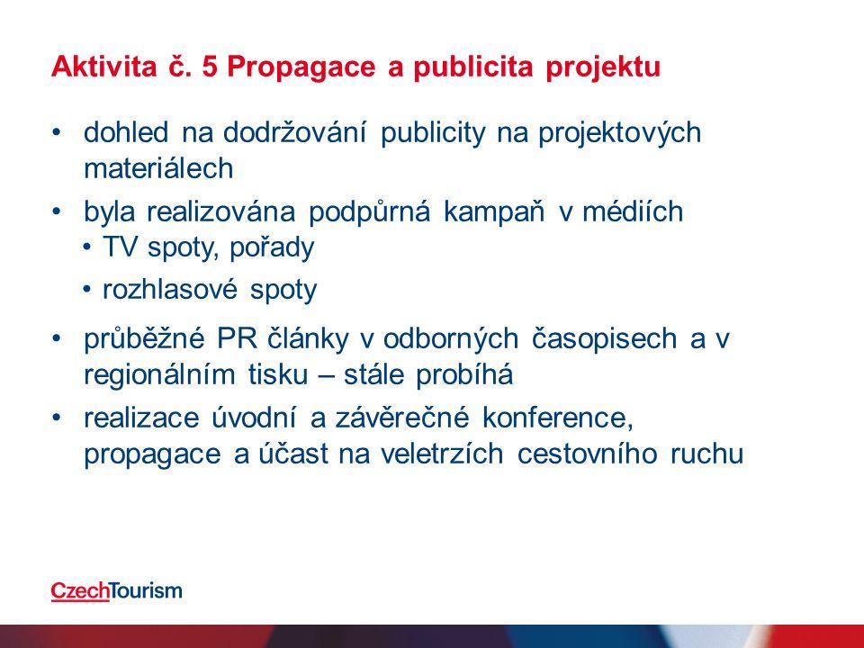 Aktivita č. 5 Propagace a publicita projektu dohled na dodržování publicity na projektových materiálech byla realizována podpůrná kampaň v médiích TV