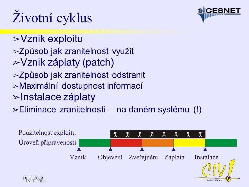 18. 5. 2009 Životní cyklus ➢ Vznik exploitu ➢ Způsob jak zranitelnost využít ➢ Vznik záplaty (patch) ➢ Způsob jak zranitelnost odstranit ➢ Maximální d