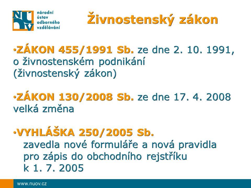 Živnostenský zákon ZÁKON 455/1991 Sb. ze dne 2. 10.