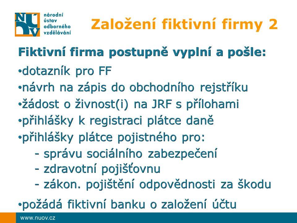 Založení fiktivní firmy 2 Fiktivní firma postupně vyplní a pošle: dotazník pro FF dotazník pro FF návrh na zápis do obchodního rejstříku návrh na zápis do obchodního rejstříku žádost o živnost(i) na JRF s přílohami žádost o živnost(i) na JRF s přílohami přihlášky k registraci plátce daně přihlášky k registraci plátce daně přihlášky plátce pojistného pro: přihlášky plátce pojistného pro: - správu sociálního zabezpečení - správu sociálního zabezpečení - zdravotní pojišťovnu - zdravotní pojišťovnu - zákon.