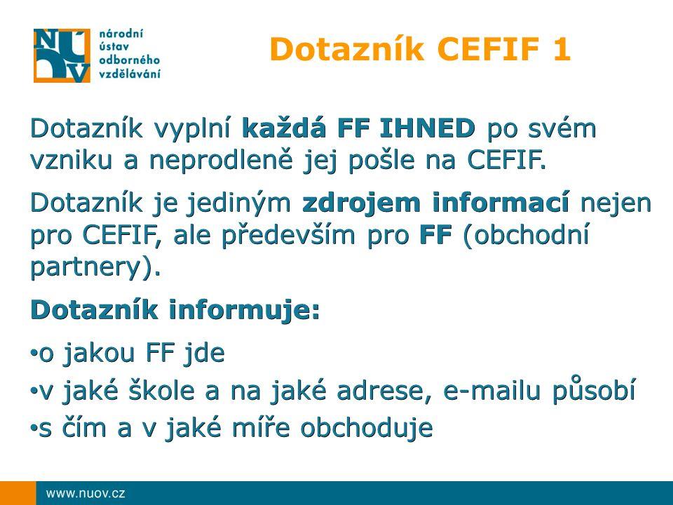 Dotazník vyplní každá FF IHNED po svém vzniku a neprodleně jej pošle na CEFIF. Dotazník je jediným zdrojem informací nejen pro CEFIF, ale především pr