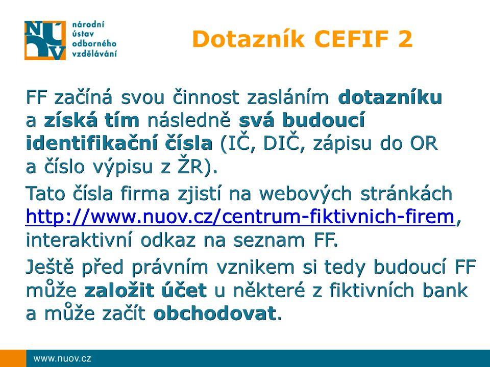Dotazník CEFIF 2 FF začíná svou činnost zasláním dotazníku a získá tím následně svá budoucí identifikační čísla (IČ, DIČ, zápisu do OR a číslo výpisu z ŽR).