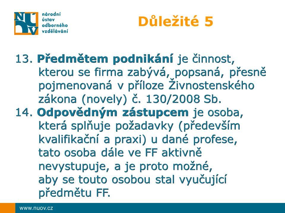 Důležité 5 13. Předmětem podnikání je činnost, kterou se firma zabývá, popsaná, přesně pojmenovaná v příloze Živnostenského zákona (novely) č. 130/200
