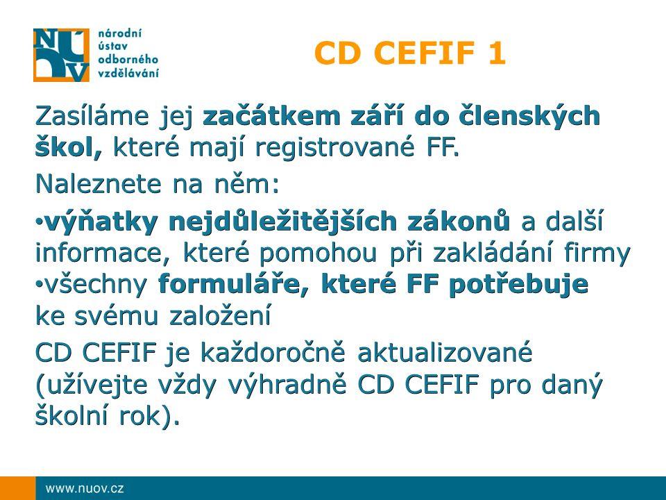 CD CEFIF 1 Zasíláme jej začátkem září do členských škol, které mají registrované FF. Naleznete na něm: výňatky nejdůležitějších zákonů a další informa