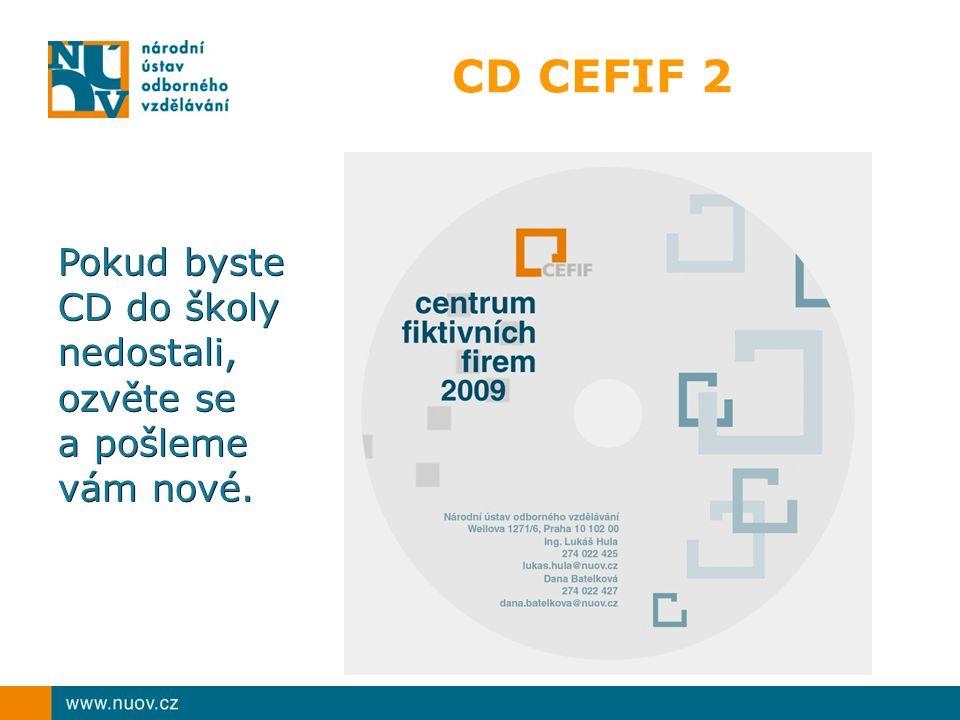 CD CEFIF 2 Pokud byste CD do školy nedostali, ozvěte se a pošleme vám nové.