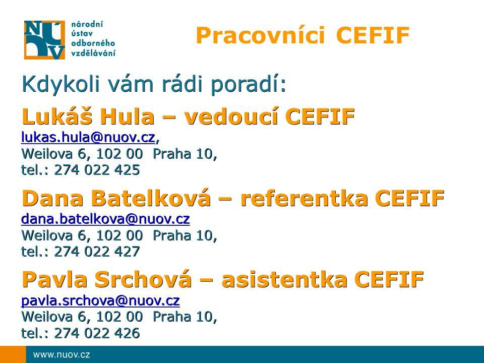 Pracovníci CEFIF Kdykoli vám rádi poradí: Lukáš Hula – vedoucí CEFIF lukas.hula@nuov.czlukas.hula@nuov.cz, lukas.hula@nuov.cz Weilova 6, 102 00 Praha