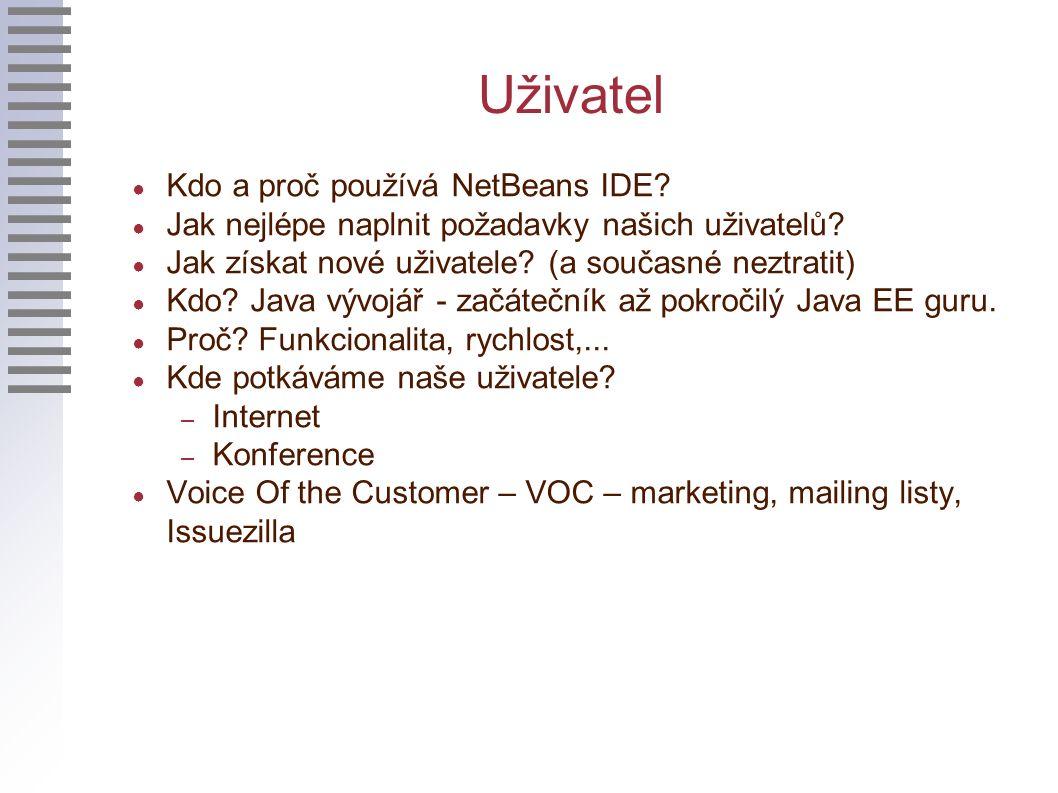 Uživatel ● Kdo a proč používá NetBeans IDE. ● Jak nejlépe naplnit požadavky našich uživatelů.