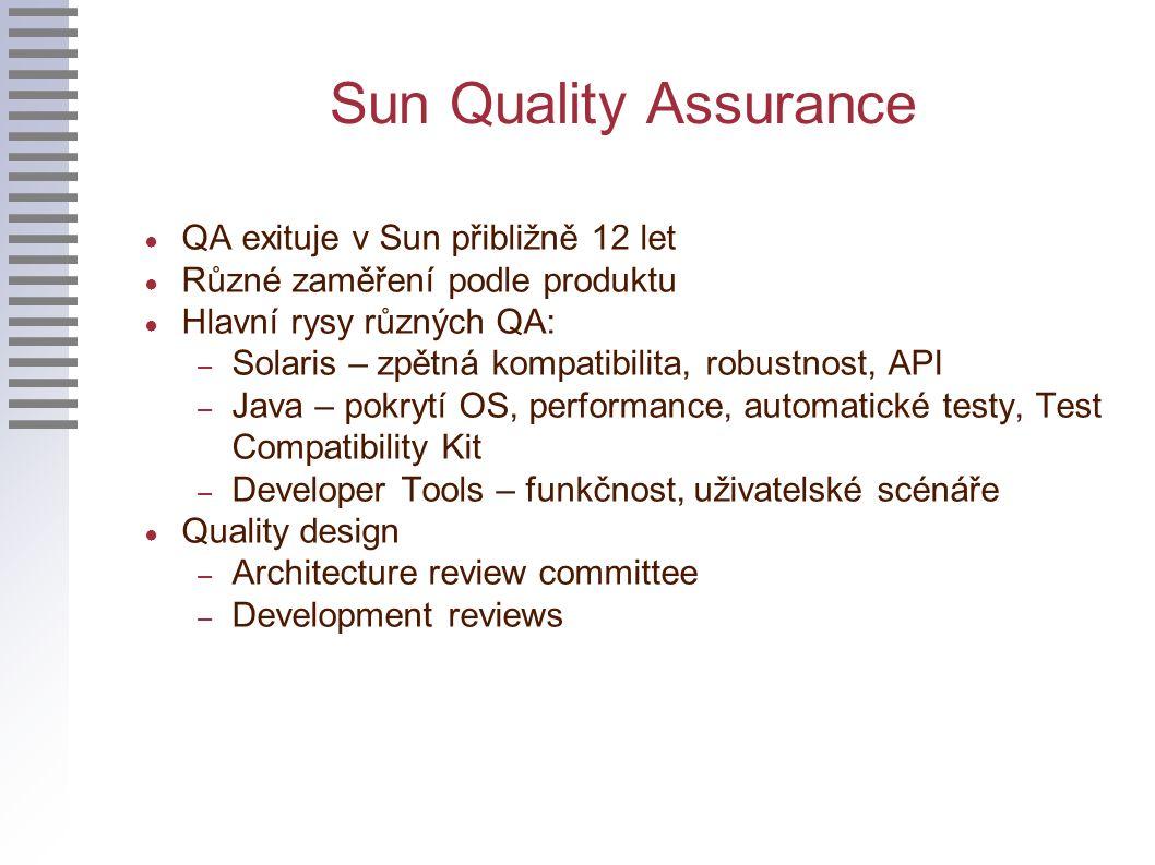 Sun Quality Assurance ● QA exituje v Sun přibližně 12 let ● Různé zaměření podle produktu ● Hlavní rysy různých QA: – Solaris – zpětná kompatibilita, robustnost, API – Java – pokrytí OS, performance, automatické testy, Test Compatibility Kit – Developer Tools – funkčnost, uživatelské scénáře ● Quality design – Architecture review committee – Development reviews