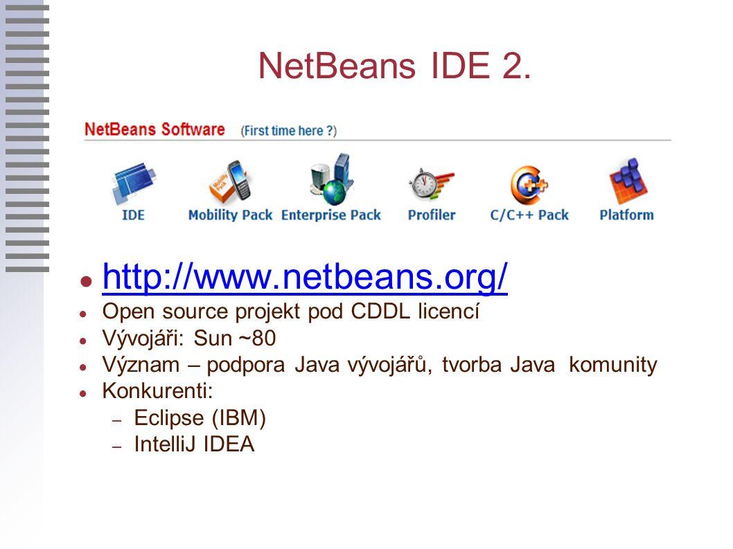 NetBeans IDE 2. ● http://www.netbeans.org/ http://www.netbeans.org/ ● Open source projekt pod CDDL licencí ● Vývojáři: Sun ~80 ● Význam – podpora Java