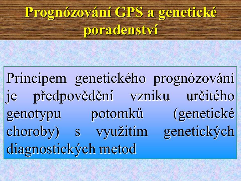 Prognózování GPS a genetické poradenství Principem genetického prognózování je předpovědění vzniku určitého genotypu potomků (genetické choroby) s využitím genetických diagnostických metod