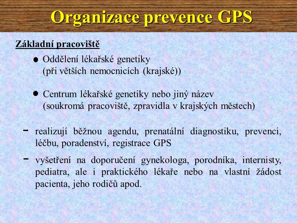 Základní pracoviště Oddělení lékařské genetiky (při větších nemocnicích (krajské)) Centrum lékařské genetiky nebo jiný název (soukromá pracoviště, zpravidla v krajských městech) realizují běžnou agendu, prenatální diagnostiku, prevenci, léčbu, poradenství, registrace GPS vyšetření na doporučení gynekologa, porodníka, internisty, pediatra, ale i praktického lékaře nebo na vlastní žádost pacienta, jeho rodičů apod.
