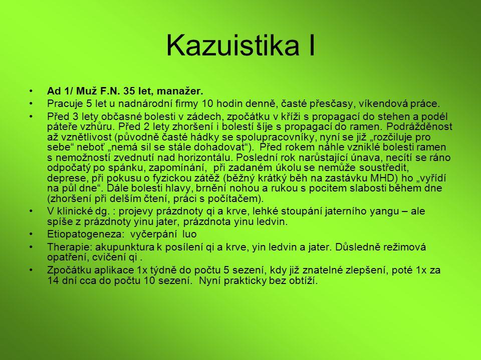 Kazuistika I Ad 1/ Muž F.N. 35 let, manažer. Pracuje 5 let u nadnárodní firmy 10 hodin denně, časté přesčasy, víkendová práce. Před 3 lety občasné bol