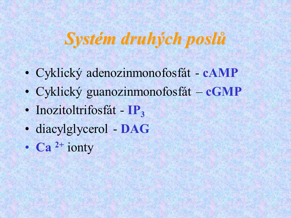 Systém druhých poslů Cyklický adenozinmonofosfát - cAMP Cyklický guanozinmonofosfát – cGMP Inozitoltrifosfát - IP 3 diacylglycerol - DAG Ca 2+ ionty