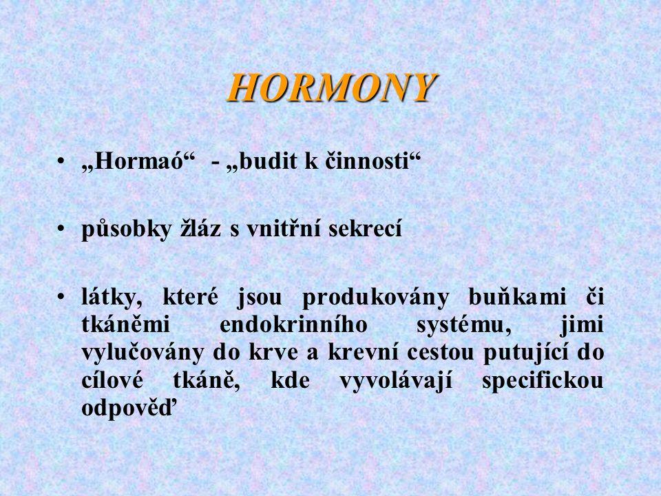 """HORMONY """"Hormaó - """"budit k činnosti působky žláz s vnitřní sekrecí látky, které jsou produkovány buňkami či tkáněmi endokrinního systému, jimi vylučovány do krve a krevní cestou putující do cílové tkáně, kde vyvolávají specifickou odpověď"""